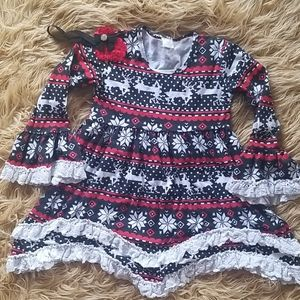 Boutique Christmas Ruffle Knitted Dress 2pc. Sz7
